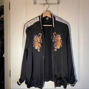 H&M Sateen Embroidery Bomber Jacket
